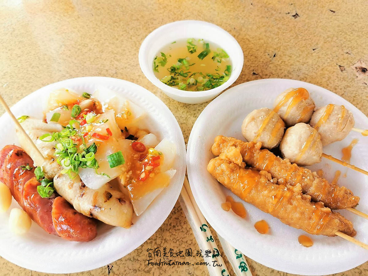 台南安南區推薦平價平民台式下午茶點心小吃-外殟仔濟和宮環福街無名黑輪米血攤車